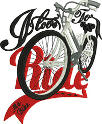 Bike Rider-Bike, Bike rider, machine embroidery, bicycles, bicycle,