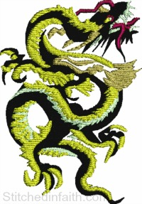 Black and Gold Dragon-Dragon embroidery, machine embroidery, fantasy embroidery, black dragon embroidery, jacket back dragon, jacket embroidery,stitchedinfaith.com