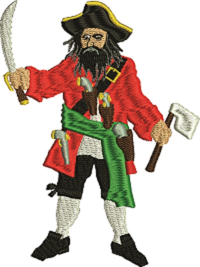 Blackbeard pirate-Machine embroidery blackbeard pirate black beard