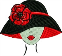 Black and red hat lady-RED HAT BLACK HAT HATS MACHINE EMBROIDERY RED HAT SOCIETY EMBROIDERY VINTAGE HAT STITCHEDINFAITH.COM