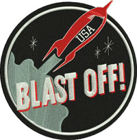 Blast off-Blast off, rocket, patch, outer space, rockets, machine embroidery