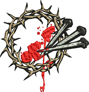 Bleeding Crown of Nails-Jesus, Crown, Thorns, Nails, Religion, Christian, machine embroidery