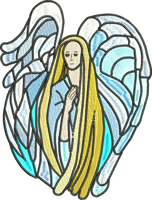 Blue Angel-Angel, Angels, Blue Angel, machine embroidery, religious, Christian