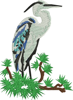 Blue Heron-Blue Heron, Heron,birds,machine embroidery