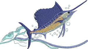 Blue Marlin-Blue Marlin, fish, fishing, machine embroidery,