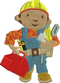 Bob the Builder-Bob the Builder, embroidery, childrens embroidery, machine embroidery