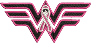 Breast Cancer Wonder Woman-Breast, Cancer, Wonder Woman, machine embroidery, October, Awareness, Ribbons