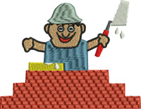 Brick Layer-Brick layer, occupations, Masonry, machine embroidery, brick layer embroidery, embroidery, jobs embroidery