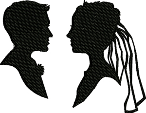 Bride and Groom Silhouette-Bride, Groom, wedding, silhouette, couple, machine embroidery