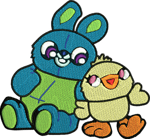 Bunny and Ducky-Bunny, ducky, toy, story, machine embroidery