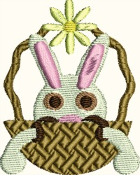 Bunny in a basket-machine embroidery, easter embroidery, bunny, easter bunny, baskets, easter baskets, stitchedinfaith.com