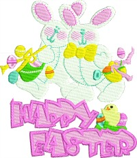 Bunny Twins-Bunny, twins, Easter, Easter machine embroidery, machine embroidery, stitchedinfaith com, holiday embroidery, Happy Easter