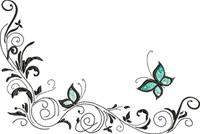 Butterfly corner-Corner, machine embroidery, butterfly, butterfly corner, corner embroidery,stitchedinfaith.com