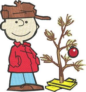 Charlie decorates-Charlie, tree, decorate, Christmas, Holidays, machine embroidery, brown