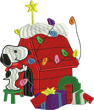 Christmas Snoopy house-Christmas, dog house, snoopy, holiday, machine embroidery