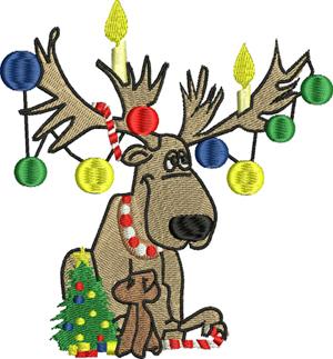 Christmas reindeer-Reindeer, Christmas, machine embroidery, holiday, reindeer embroidery, rudolph