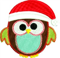 Christmas homemade owl-owl machine embroidery christmas owl stitchedinfaith.com