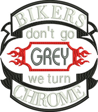 Chrome Bikers-Bikers, Chrome, machine embroidery, motorcycle, bikes, embroidery