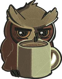 Coffee owl-Owls, owl,coffee,machine embroidery,