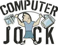 Computer Jock-Computer Jock, computer, machine embroidery, jock, computer, school, technology, embroidery