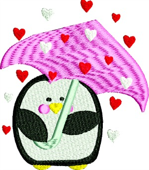 Valentines Penquins Raining Hearts-MACHINE EMBROIDERY VALENTINES DAY PENQUINS HEARTS PENQUINS HEARTS
