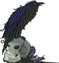 Crow and skull-Crow embroidery, machine embroidery, skull embroidery, scary embroidery, horror embroidery, crows, skulls