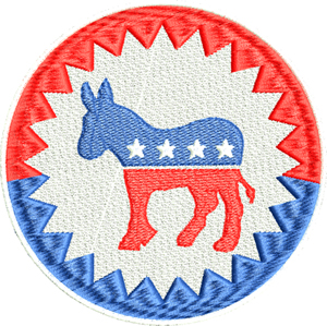 Democrats logo-Democrat, political, machine embroidery, election