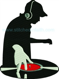Disc Jockey-machine embroidery, disc jockey, music embroidery, disc jockey embroidery, stitchedinfaith com, jockey embroidery, logos