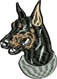 Doberman-Doberman, dog, animal, machine embroidery, Doberman dog, stitchedinfaith