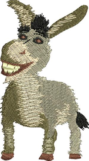 Donkey-Donkey, Shrek, machine embroidery, cartoon