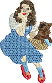 Dorothy-Dorothy, wizard of oz, machine embroidery, dorothy embroidery,