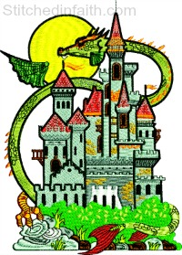 Dragon Castle-Dragon Castle, machine embroidery, Castle embroidery, Fantasy embroidery, Dragon Castle embroidery, stitchedinfaith.com, Dragons embroidery