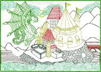 Dragon Castle of many colors-Dragon Castle embroidery, machine embroidery, fantasy embroidery, castle embroidery, dragon embroidery, color works embroidery, stitchedinfaith.com