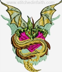 Dragon Snake-Dragon embroidery, Dragon snake, snake embroidery, dragons, machine embroidery, stitchedinfaith.com, animal embroidery, fantasy embroidery
