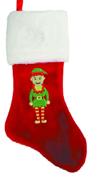 Personalized Elf Embroidred Christmas Stocking Large