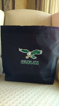 Embroidered Eagles tote bag-Eagles tote bags, embroidered totes, embroidered bags, Eagles tote, totes, tote bags,