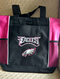 Embroidered Eagles Pink panel tote bags-Pink eagles bag, pink eagles tote, totes, sport totes, football totes, phila totes, bags, panel bags