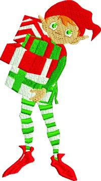 Elf bearing gifts