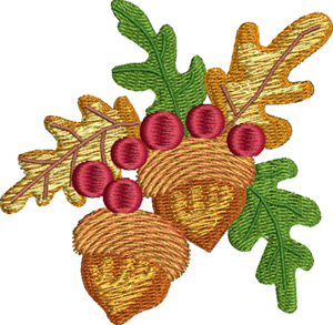 Fall acorns-Fall, acorns, seasons, Autumn, machine embroidery, embroidery designs