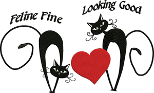 Feline fine-Valentine, holiday, cats, feline, love, heart, machine embroidery