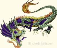 Ferocious Dragon-Dragon embroidery, Ferocious dragon, machine embroidery, animal embroidery, fantasy embroidery