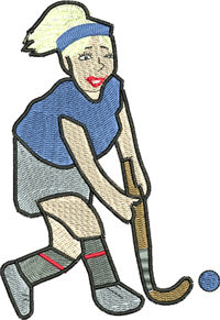 Field hockey girl-Hockey, field hockey, hockey girl, machine embroidery, embroidery