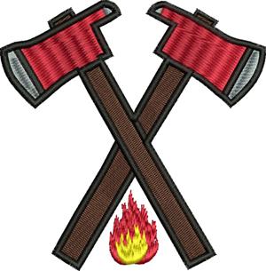 Hatchets-Fireman, hatchets, occupation, machine embroidery, fire