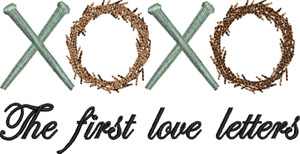 First Love Letters-Love letters, Jesus, crown of thorns, nails, Easter, Christian, machine embroidery
