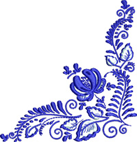 Flowered Corner-Corners, machine embroidery, flowered corners, embroidery corners, Corner