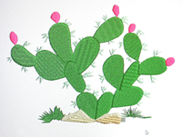 Flowering Cactus-cactus, machine embroidery, flowering cactus, embroidery,