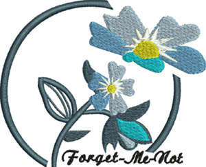 Forget me not-Altzhiemers, Forget me not, machine embroidery, flowers, grief