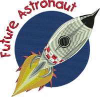 Future Astronaut-Astronaut, future, machine embroidery, space, outer space,space ship