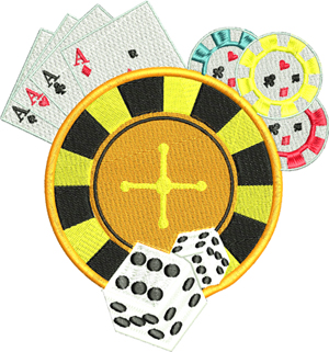 Gambling-Gambling, machine embroidery, Gambler, casino,cards, dice, poker chips, roulette wheel