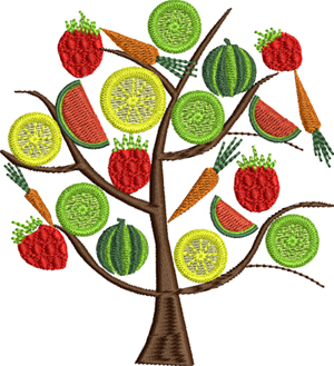Garden Tree-Garden, machine embroidery, fruit, vegetables, trees, food, plants, veggies, lemons, limes,watermelon, carrots